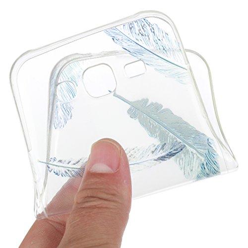 Qiaogle Telefon Case - Weiche TPU Case Silikon Schutzhülle Cover für Apple iPhone 5 / 5G / 5S / 5SE (4.0 Zoll) - HX51 / Ostrich + Flower HX37 / Blau feathers