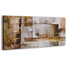 100% LABOR A MANO + certificado | 120x60 cm |YS-Art Acrílico Pinturas | Abstracción VII | Imagen en lienzo y marco de madera | Cuadros hechos a mano | Cuadro de pared único | 1 parte (RR-171)
