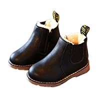 HUHU833 Kids Boys Girls Winter Snow Warm Ankle Boots Zipper Child Chelsea Shoes