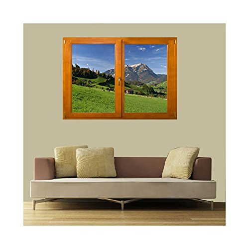 TATOUTEX Sticker, Trompe Auge Fenster Die Berge, L 140cm x H 100cm