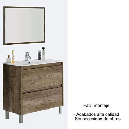 Mueble baño con 2 cajones + espejo + lavabo incluido CERAMICO