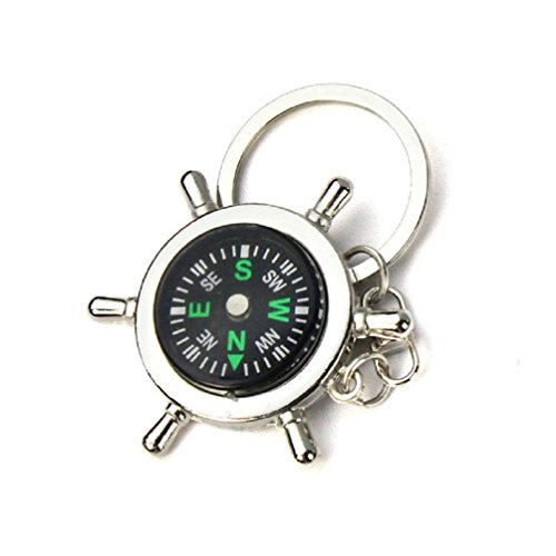 bluestercool-portable-alloy-silver-nautical-compass-helm-keychain-ring-chain-gift