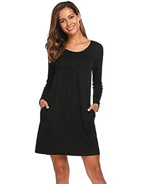 HOTOUCH Damen Kleid Langarm Casual Tunika Loose T-Shirt Kleid Mini Kleider Mit Tasche