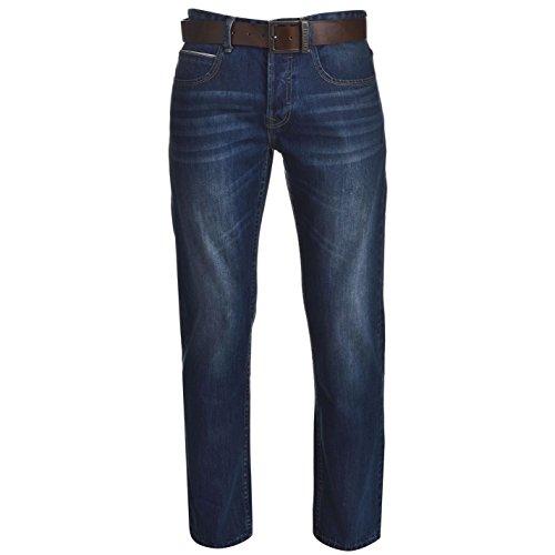Firetrap Herren Jeans Leder Guertel Inklusive Straight Denim Hose Jeanshose Blau 32W R