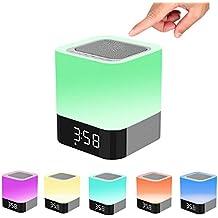 Noche–Lámpara de mesa LED, King Coo All-in-One Wireless Bluetooth altavoz con Multicolor Touch Sensor Lámpara de luz nocturna, Support Despertador, manos libres, MP3Player Tarjeta TF Función
