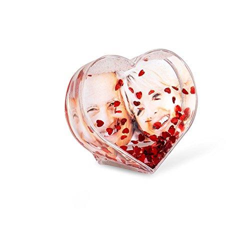 levandeo Cadre Photo 96098Photo Coeur Photo Boule avec Volants-Boule à Paillettes schüttel Coeurs Rouges Coeur Cadre Photo cœur Rouge Love Forme de cœur