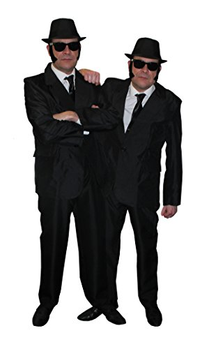 ILOVEFANCYDRESS Brothers of Blues=Alien JÄGER =2 KOSTÜME =Fasching+Karneval=MÄNNER IN SCHWARZ Verkleidung+58cm Hut =Large+Large