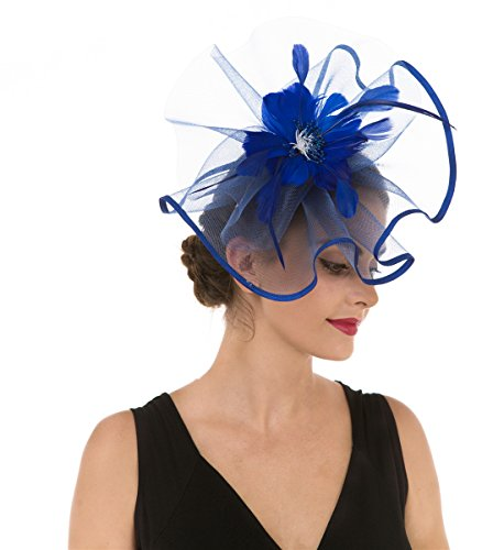 Fascinators Hut Blume Mesh Stirnband und einem geteilten Clip Cocktail Tea Party Hochzeit Kirche Headwear für Mädchen und Frauen Braut (Saphirblau)