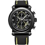Megir MN2100G-BK-1 Two-Tone Silicone Round Analog Watch for Men - Black