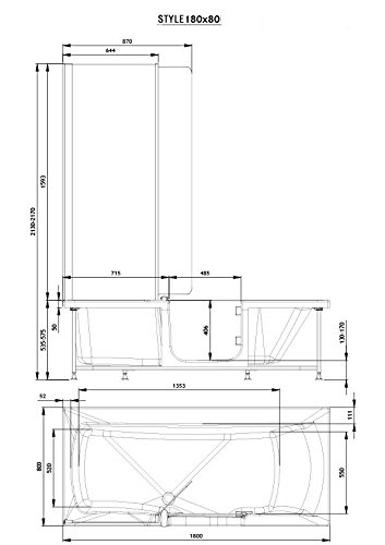 Badewanne 180×80 HOSTYLE – Acryl, mit Tür, Links