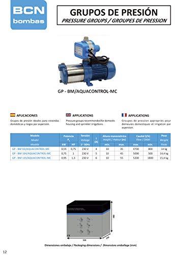 BCN bombas - Grupo de presión gp-bm 135/aquacontrol-mc