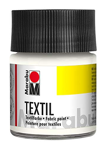Marabu 17160005070 - Marabu Textil Stoffmalfarbe Stoffdruckfarbe, Wasserbasis, für helle Stoffe, waschbeständig bis 60°C, weicher Griff, einfache Fixierung durch Bügeln o. Backofen, 50 ml, weiß -