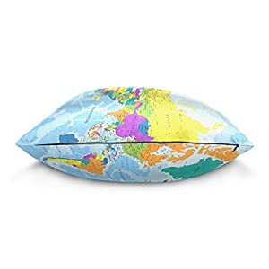 alaza Highly Detailed World Map Pillowcase for Living Room Sofa Car Decorative Cotton Linen Throw Pillow Case Cushion Cover Square 18 X 18 Inches