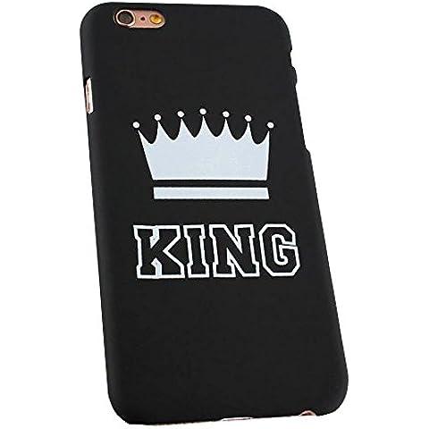 Cuitan Moda Parejas Frosted Difícil Funda Carcasa para Apple iPhone 6 / 6S (4.7 Inch), Rey Corona Diseño Anti-Rasguños Back Cover Protector Carcasa Funda Caso Cover Cubierta Shell para iPhone 6 / 6S (4.7 Inch) - Negro(Teléfono no