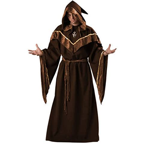 Mens Wizard Deluxe Dark Sorcerer Monk Priest Adult Medium Fancy Dress Harry