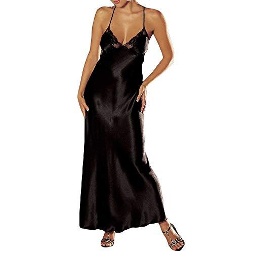 Merical biancheria delle donne babydoll in pizzo sexy biancheria intima sleepskirt raso pizzo lungo abito(nero,s)