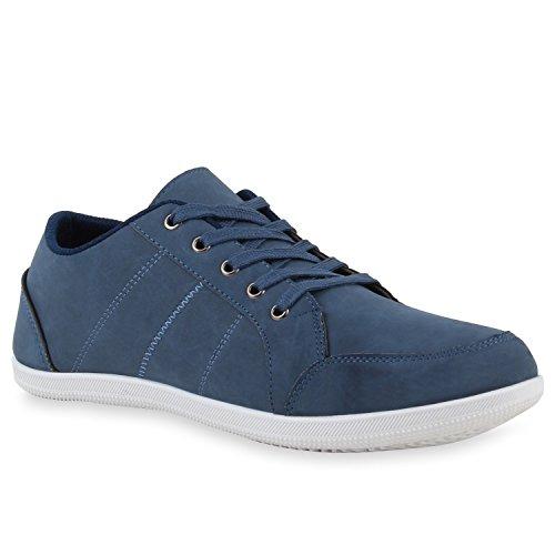 Sportliche Herren Sneakers Low Freizeit Schuhe Schnürer Blau