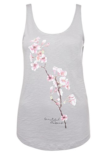 Stitch & Soul Damen Top mit Blumen Print | Leichtes Ärmelloses Basic Shirt mit Aufdruck Light-Grey XL (Blumen-print-hose)
