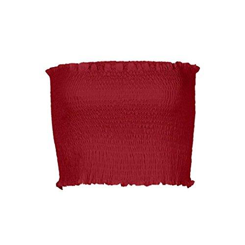 OVERDOSE Frauen trägerlosen elastischen Boob Bandeau Tube Tops BH Dessous Brust Wrap Bluse Sommer Basic Tops (A-Red,EU-36/CN-S) - Kimono Krawatte Wrap Top