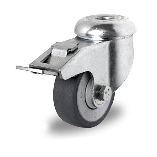Preisvergleich Produktbild Lenkrolle mit Rückenloch und Feststeller 50 mm Apparaterolle TPE