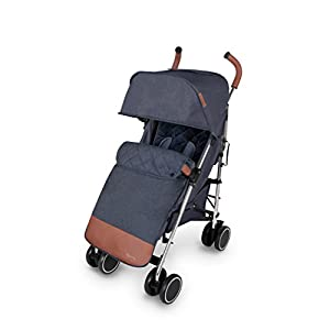 Ickle Bubba Baby Strollers | Lightweight Stroller Pushchair | Compact Fold Technology for Easy Transport and Storage | UPF 50+ Extendable Hood,Footmuff and Rain Cover | Discovery Max,Denim Blue/Silver   1