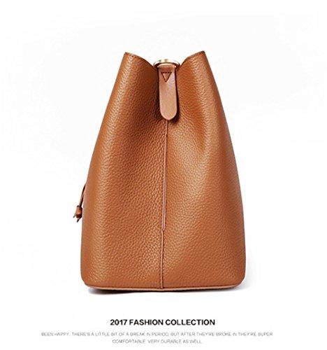 XinMaoYuan Damentasche Herbst Und Winter Handtaschen Aus Leder Lychee Muster Rindsleder Tunnelzug Schultertasche Braun
