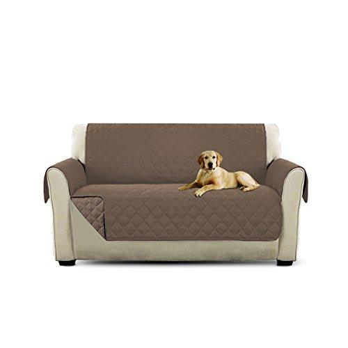 Petcute copripoltrona per divano trapuntato luxury protegge da animali extra morbido marrone chiaro 2 plazas