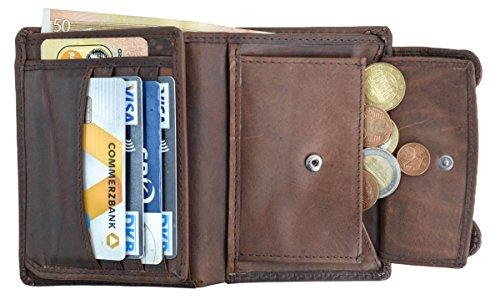 Gusti Leder studio ''Ben'' portamonete portafoglio banconote monete vintage vera pelle festa disco unisex marrone scuro 2A13-22-6