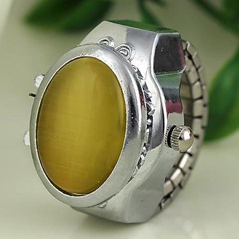 Reloj del anillo del cuarzo de la aleación de plata de la cubierta del estilo del jade de las mujeres (colores surtidos) ( Color : Azul )