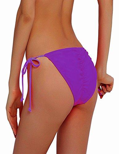 NOAHAN Frauen Bunt Sexy Bikini Bottom Swimsuit Tie Side Push Up Brazilian S M L XL Violett