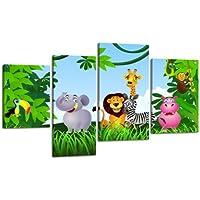 Lienzo Animal Group lw404pared Imagen, imagen sobre lienzo, 4piezas, 180x 115cm, de impresión Canvas, XXL imágenes, Bastidor imagen, madera contrachapada, imagen, marco de madera, URWALD, animales, niños