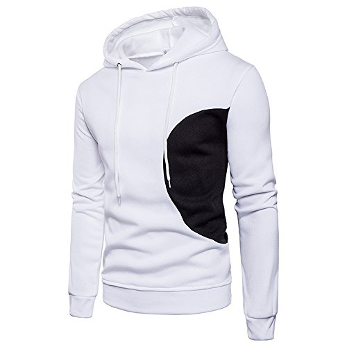 SEWORLD Men Long Sleeve Hoodie Stitching Color Coat Jacket Outwear Sport  Tops White 30bbf222f