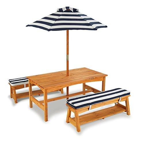 Preisvergleich Produktbild KidKraft 106 - Gartentisch und Bänke mit Sitzkissen/Sonnenschirm