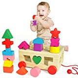 HERSITY Wooden Shape Sorter Geometric Cube Building Block Pull Along Learning Toy Baby Toddler Kids Gifts