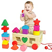 HERSITY Wooden Shape Sorter Cube Building Block Sorting Stacking Matching Game Pull Along Car Early Learning Geometry Toy for Baby Kids