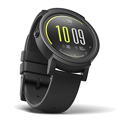 Ticwatch E Shadow am Bequemsten Smart Watch, 1,4 Zoll OLED-Display, Android Wear 2.0, Kompatibel mit iOS und Android, Unterstütze Deutsch (Beste Kopfhörer Für Das Laufen)