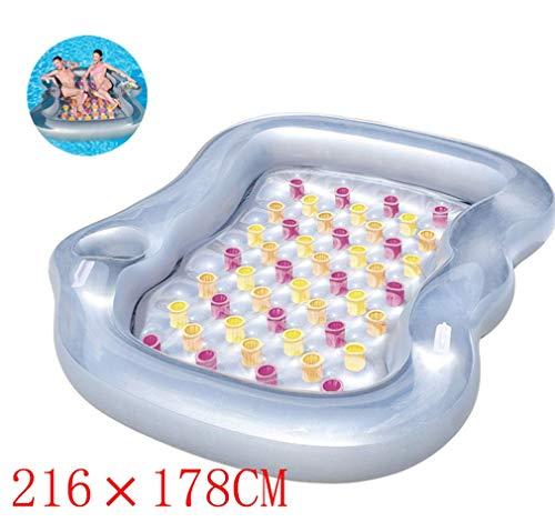 Swim Party Toys Schlauchboot Schwimmfähig Aufblasbares Bett zur Aufbewahrung von Getränken für Mehrere Erwachsene 216X178Cm Aufblasbare Wasserbalsa-Schlafcouch Inflatable Settee Schwimmsitz Sofa, Go