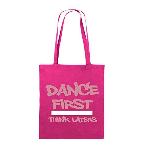 Buste Comiche - Dance First Think Laters - Borsa In Juta - Manico Lungo - 38x42cm - Colore: Nero / Bianco-rosa Rosa / Rosa-bianco
