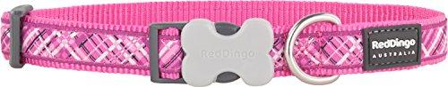 Red-Dingo-Flanno-Design-Dog-Collar-12-mm-x-20-32-cm-Hot-Pink