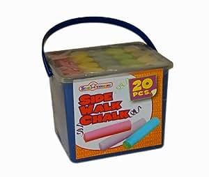 Star Tionery - Boîte de craie de rue - 20 pièces - blanc, vert, bleu, jaune, rouge