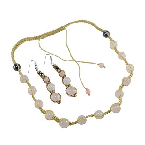 Silvestoo India Rose Quartz & Hematite Gemstone Necklace & Earring Set For Women & Girls PG-125375