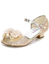 YOGLY Sandalias de Niña Verano Sandalias de Tacón Alto Niñas Zapatos de  Tacón Lentejuelas de Perlas Fantasía Zapatos Disfraz de Princesa… b22a71370e88a