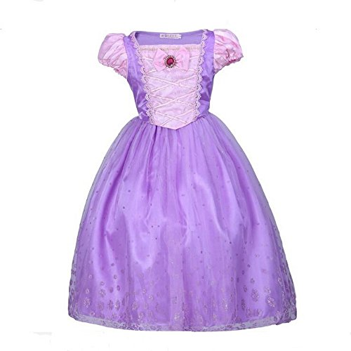 Girl 's Princess Rapunzel Kostüm Kleid Puff Sleeve Dress, Cosplay Halloween Geburtstag Party Kleid Fancy Dress – Pink, rosa