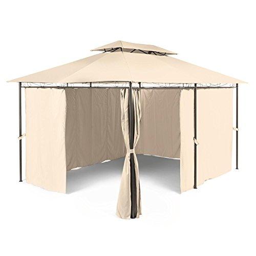 Blumfeldt Grandezza • Pavillon • Partyzelt • Gartenpavillon mit Seitenwänden • 3 x 4 m • Stahlrohrkonstruktion • Metallornamente • pulverbeschichtet • abgeschrägtes Dach • Polyester • wasserabweisend • Laufschienen • Reißverschlüsse • Klettbänder • beige