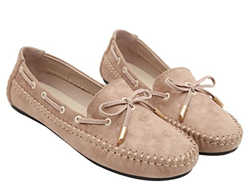 dqq Femme avec nœud à enfiler Flâneur Chaussures plates Beige - beige