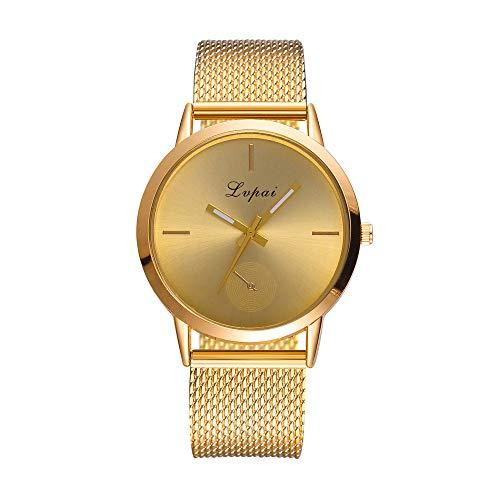 BaZhaHei Damen Uhren Lvpai Frauen Klassische Luxusuhr mit Kristall Quarz Silikon Band Band Uhr Analog Armbanduhr (Gold)