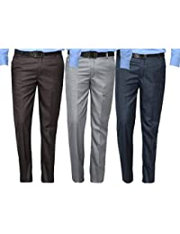 Mark Pollo Cotton Rich Fabric Regular Fit Formal Trousers for Men (Pack of 3) Brown, Light Grey, Dark Grey
