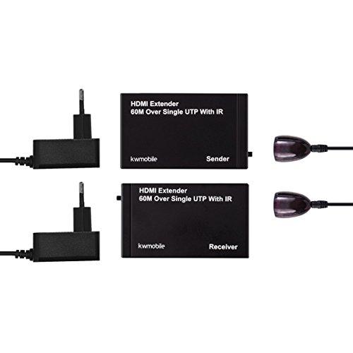 kwmobile HDMI Extender über Netzwerkkabel - 1080p HD Qualität - 60m HDMI Verlängerung über Cat6 Kabel mit Infrarot - Übertragung Audio Video (Daten-sender)