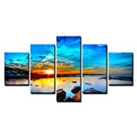 ZTTPCP 100x55cm Canvas Prints Paintings Decor 5 Pieces Blue Sky Seaside Sunrise Sea Reef Pictures Sunset Seascape Poster Wall Art