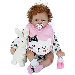 Oddity 21inch 53cm Muñeca Reborn bebé, niño pequeño Suave Silicona Vinilo Realista Reborn Baby Doll, muñeco Interactivo para niños y niñas de 2 a 8 años